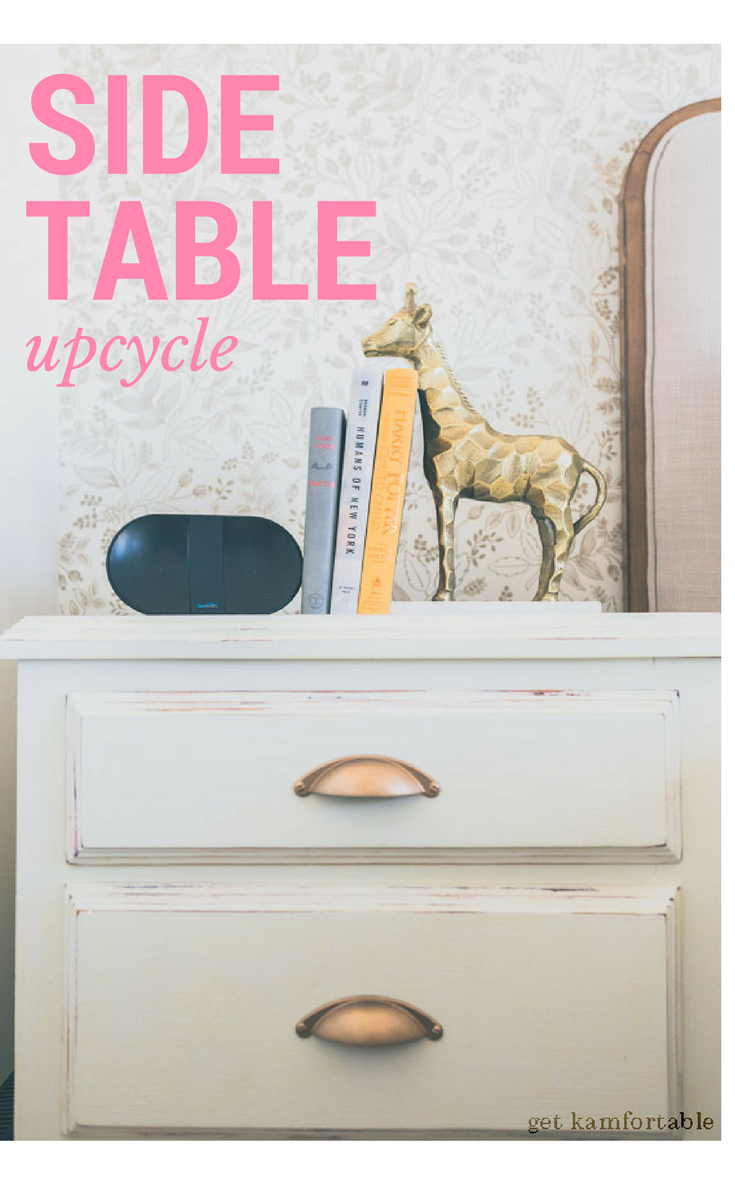 side table upcycle, makeover bedside table, diy distressed side table, easy diy furniture